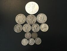 90% junk silver Lot of 90% Silver Coins, BU 2015 American silver eagle, OLDIES