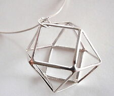 14-Sided Silver Ball of Triangles and Squares Pendant 925 Sterling Silver Math