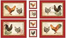 French Country Roosters Placemat Panel 100% Cotton Quilting Fabric