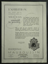 New London House Mauboussin Exhibition Emerald Jewellery 1928 Advertisement Ad