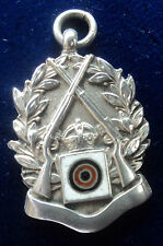 EARLY Silver & Enamel Rifle Shooting Fob Medal - hallmarked 1912 - not engraved