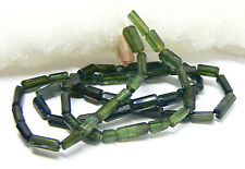 RARE NATURAL GREEN FACETED TOURMALINE TUBE BEADS STRAND 29.5cts 5-7mm