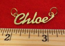 "14KT GOLD EP ""CHLOE"" PERSONALIZED NAME PLATE WORD CHARM PENDANT 6079B"