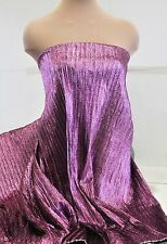 PLEATED LAME FABRIC LILAC ..BY THE YARD.. COSTUME, DECOR, (REDUCED) 44 INCHES