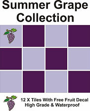 "4"" Tile Transfers Stickers 12 + Free Printed transfer Summer Grapes collection"