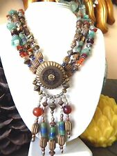Vintage ARTISAN Natural Stone Amber Lapis Jasper Bead String Coin Necklace OOAK