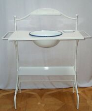 G1577: Grand Nostalgie Porte-lavabo,Table de laver,Set lavage,émail blanc-bleu