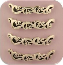 2 Hole Beads Bars Rococo Baroque Pattern Raised Filigree Flourish ~Sliders QTY 4
