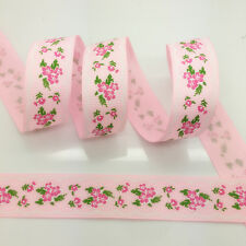 NEW~ 5 Yards 1Inch 25mm Wide Printed Grosgrain Ribbon Hair Bow DIY Sewing #A132