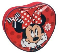 Disney Minnie Mouse 'heart Shaped' Red Pvc Front School Bag Backpack Brand New