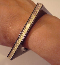 New CC Skye Square Enamel and Baguette Gun Metal Black Bangle