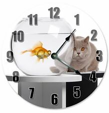 "GRAY CAT and GOLDFISH Bowl Clock - Large 10.5"" Wall Clock - 2187"