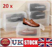 20x  Clear Shoe Boxes Shoe Storage Shoe Organiser Transparent PlasticUnisex