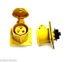 2 x 16 amp 3 pin yellow panel mount socket outlet 110V transformer power tools