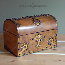 Antique Tea Caddy, Victorian Dome Topped Chest, Burr Walnut c.1870