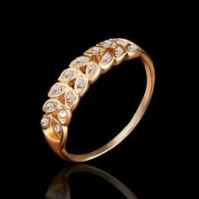Size 8 Fashion For Wedding Show Wheat Rhinestone Gold Plated Ring