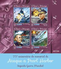 Santo Tomé & Principe 2016 estampillada sin montar o nunca montada Segunda Guerra Mundial de la Segunda Guerra Mundial Pearl Harbor 4v M/S Barcos De La Aviación Sellos