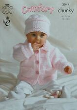 KNITTING PATTERN Baby Easy Knit Long Sleeve Jacket & Hat Chunky King Cole 3044