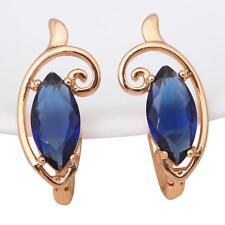 JE808 New 2016 Women Clip Earrings 18k gold filled Blue Topaz Fashion jewelry