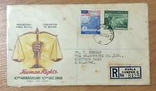 Malaya FDC - 1958 Human Rights stamps canc KL To Gramaphone co Singapore