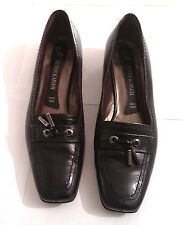 Peter Kaiser Classic Black Womens Leather Loafer Shoes Metal Tassels UK Sz 8 VGC