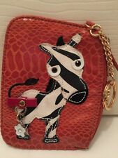 Sharif NOVELTY Leather ZEBRA key fob  Zippered Coin Purse ID card wallet
