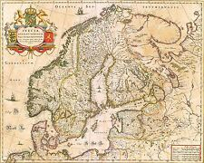MAP ANTIQUE BLAEU 1645 SCANDINAVIAN KINGDOMS LARGE REPLICA POSTER PRINT PAM0562