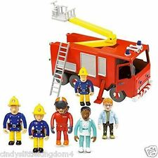 New Fireman Sam Friction Fire Engine Jupiter & 5 Figure Articulated Set playset
