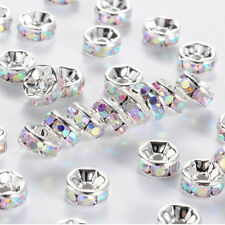 10 Quality Silver Plated Clear AB Crystal Beads, Round Rhinestone Spacer Beads