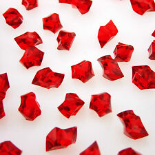 100 x RED Acrylic Scatter Crystal Nuggets Ice Confetti Wedding Vase Filler