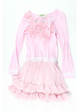 LITTLE MASS Girls' Light Pink White Feather Jewel Lace Tulle Details Dress Sz 6