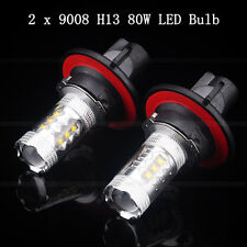 2Pcs Super Bright H13 9008 80W High Power LED Projector High/Low Beam Headlight