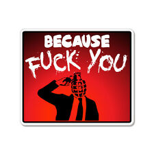 "Because F* You Banksy car bumper sticker decal 5"" x 4"""