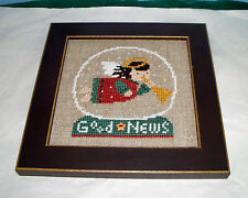 BENT CREEK SNOW GLOBE GOOD NEWS ANGEL COMPLETED CROSS STITCH PICTURE FRAMED