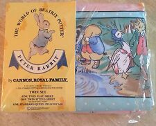 NEW Vintage 1986 Peter Rabbit/Beatrix Potter Cannon/Percale Twin Sheet 3 PC Set