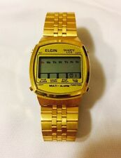 Vintage Elgin Multi Alarm DK102-HC11 Quartz LCD LED Watch Adjustable Gold Toned