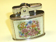 "RONSON ""STANDARD"" STERLING SILVER LIGHTER W. GLASS ENAMEL - PAT. 621570 -ENGLAND"
