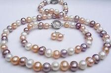 schöne 7-8mm Multicolor Süßwasserperlen Perlenkette Armband Ohrringe