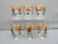 A Fabulous set of 6 1950s Shot Glasses Cocktail Glasses - Modernist design