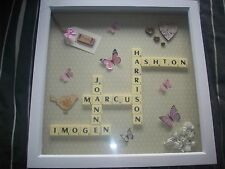 "12x12"" Personalised Scrabble Word Art Picture Frame - Choose Own Names"