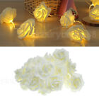 20 Warm White LED Battery Operated Rose Flower Bedroom Fairy Lights Christmas 2m