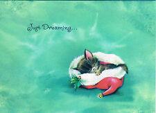 Vntg Glittered XMAS Card CUTE KITTEN Cat SLEEPS INSIDE SANTA'S HAT Just Dreaming