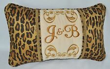 Personalized Embroidered Pillow made w Cream Faux Suede & Venetian Leopard cord