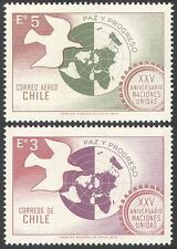 Chile 1970 UN 25th/Bird/Dove/Globe/United Nations/Peace/People 2v set (n27185)