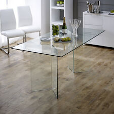 Geo-Glass Clear Rectangle 6 Seater Dining Table - Kitchen - BRAND NEW - GG73