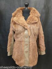 Women's brown rabbit laine manteau taille 12 MV5445