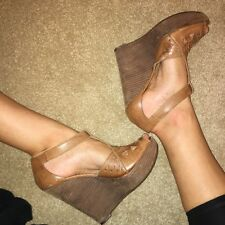 Topshop Brown Leather Wedges