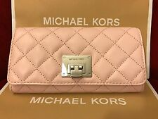 NWT MICHAEL KORS SOFT QUILTED LEATHER ASTRID CARRYALL WALLET-BLOSSOM/SILVER-HDWR