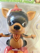 Funny Solar Chihuahua Dog Bobble Head Big Ears Eyes Tiny Hat Dad Toy Rescue Cute