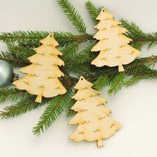 3 Stück Tannenbaum 10cm Holz zum Anhängen am Weihnachtsbaum Advent Fensterdeko